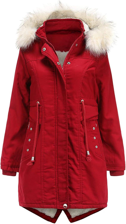 Cardigo Oversized Winter Coats for Womens Ladies Mid-Length Fleece Detachable Hat Warm Jacket Cotton Fashion Outerwear