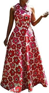 Lapel Floor-Length Sleeveless Floral Women's Maxi Dress Print Evening Party Long Dress