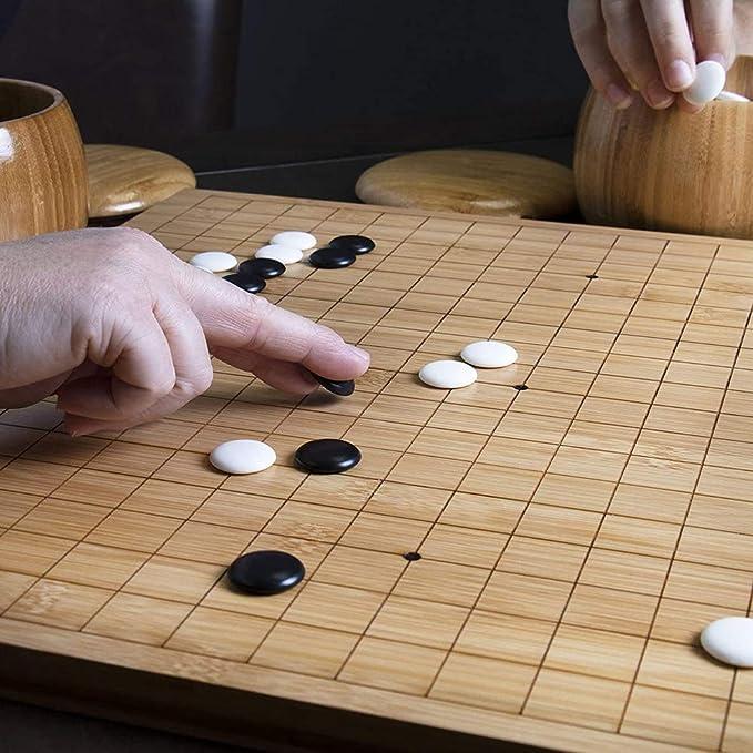Gobus Go Ensembles de Jeu d/échecs WeiQi Jeu Pierres de c/éramique exquises en Couleur Jaune Art Bols d/échecs tiss/és Plateau de Jeu Go