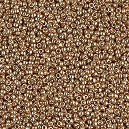 MIYUKI redondo perlas de semillas de rocalla de tamaño 15/07,2G Duracoat Galvanized champán