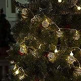 GIGALUMI LED Kugel Lichterkette 20 Silber Metall Kugel 2,5m Lange Warmweiß Batteriebetrieben Innen Beleuchtung Dekoration für Party, Weihnachten, Halloween, Zimmer usw. - 4