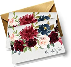 Indigo Floral Thank You Cards with Gold Envelopes (Pack of 20) Weddings Baby Shower All Occasion Stationery Set