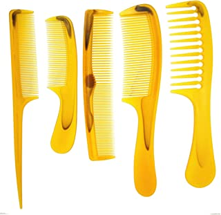 Plastic Comb 5pcs/ Pack Hairdressing Hair Salon Wide/fine Tooth/Teeth Amber/Orange Men Woman Whole Family can use it