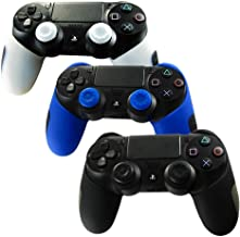 XFUNY® Controller Skin Case for PS4, 3 PCS Soft Silicone Thicker Half Cover Controller Gel Rubber Skin Protectors Case with Thumb Grip Cap for Sony PlayStation 4 PS4 Controller (Black+Blue+White)