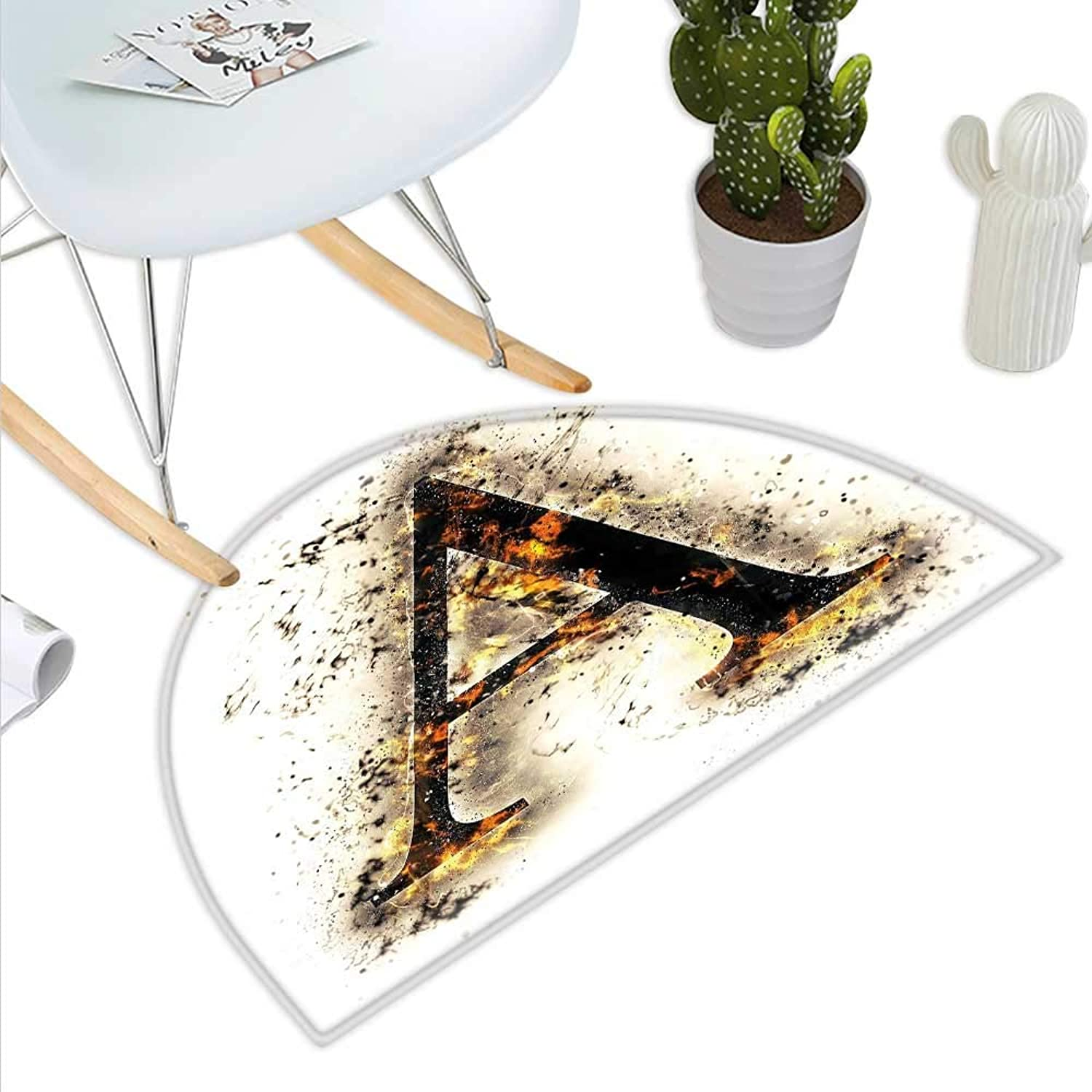 Letter A Semicircle Doormat Fiery Pattern First Letter of Alphabet Flame Texture Worn Stained Background Halfmoon doormats H 35.4  xD 53.1  Tan Black orange