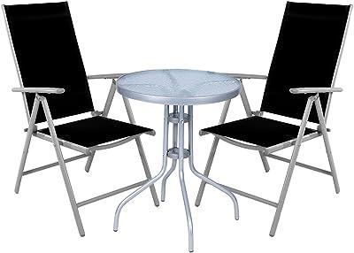 Mojawo ® 3 Pezzi Set da Bistrot bistroset vetro//metallo tessili Antracite//Beige