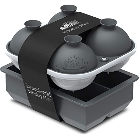 Samuelworld Ice Cube Trays - Jumble Big Cubes & 2.5 inches Large Sphere Ice Mold Combo for Whiskey and Cocktails, Keep Drinks Chilled (Grey)