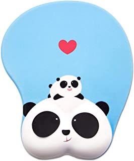 Panda 3D Mouse Pad Ergonomic Soft Silicon Gel Mousepad with Wrist Support Animal Mouse Mat for PC Mac (Blue)