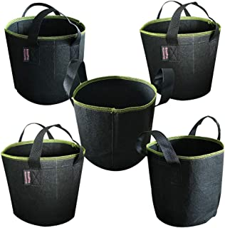 BroilPro Accessories 5-Pack 3 Gallon Plant Grow Bags - Smart Thickened Non-Woven Aeration Fabric Pots Container with Strap...