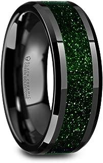 Black Ceramic Wedding Ring with Green Goldstone Inlay Polished Finish and Beveled Edges 8mm Band
