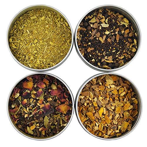 Heavenly Tea Leaves Turmeric Tea Sampler, 4 Loose Leaf Turmeric Teas & Tisanes