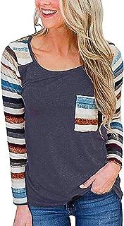 Women Blouse,Deesee(TM) Fashion Womens O-Neck Long Sleeves Rainbow Stripe Splicing Pocket Blouse Easy Tops
