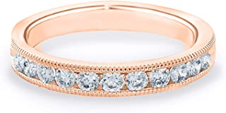 1/2 CT Milgrain Channel-Set Lab Grown Diamond Ring in 14K Gold, Sparkling in E-F Color and VS Clarity