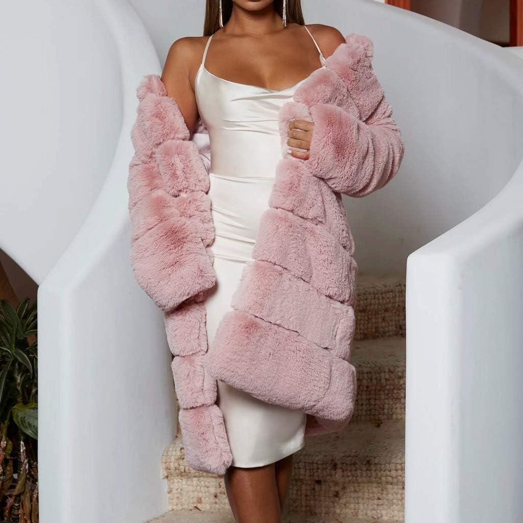 LIHAEI Pelzmantel Damen Winter Mantel Warm Faux Fur Kunstfell Coat Winterjacke Grosse GröSsen Elegant Fellmantel S-XXXXL Rosa