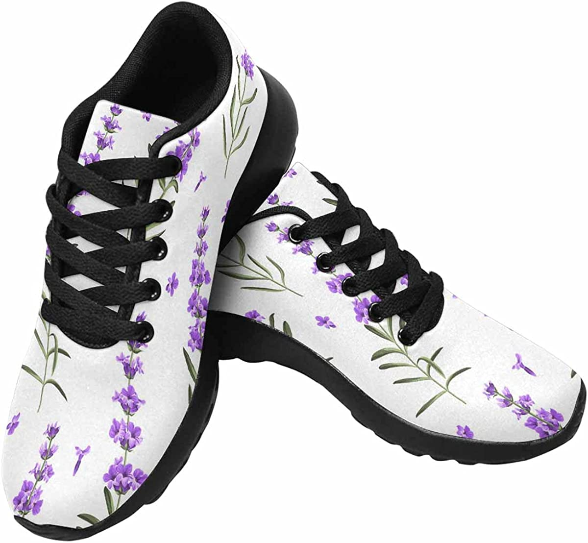InterestPrint Running Shoes Women Walking Climbing Tennis Sneakers Lavender Flowers Green Sitripes