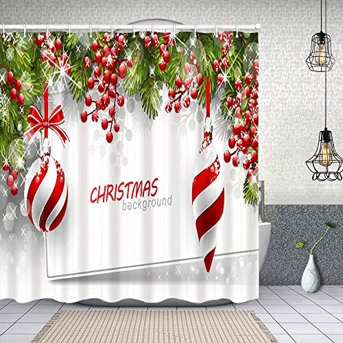 Dfform Cortina Baño,Fondo de Navidad Ramas de Abeto Bolas Rojas,Cortina de Ducha Tela de Poliéster Resistente Al Agua Cortinas de Ducha Baño con 12 Ganchos,150x180cm
