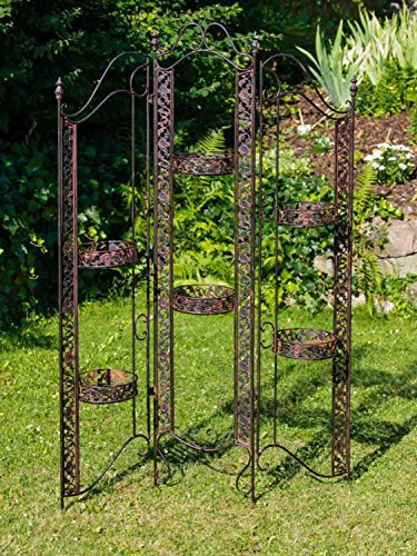 aubaho Paravent Pergola Rankhilfe Blumenampel 16kg Eisen antik Stil braun Iron