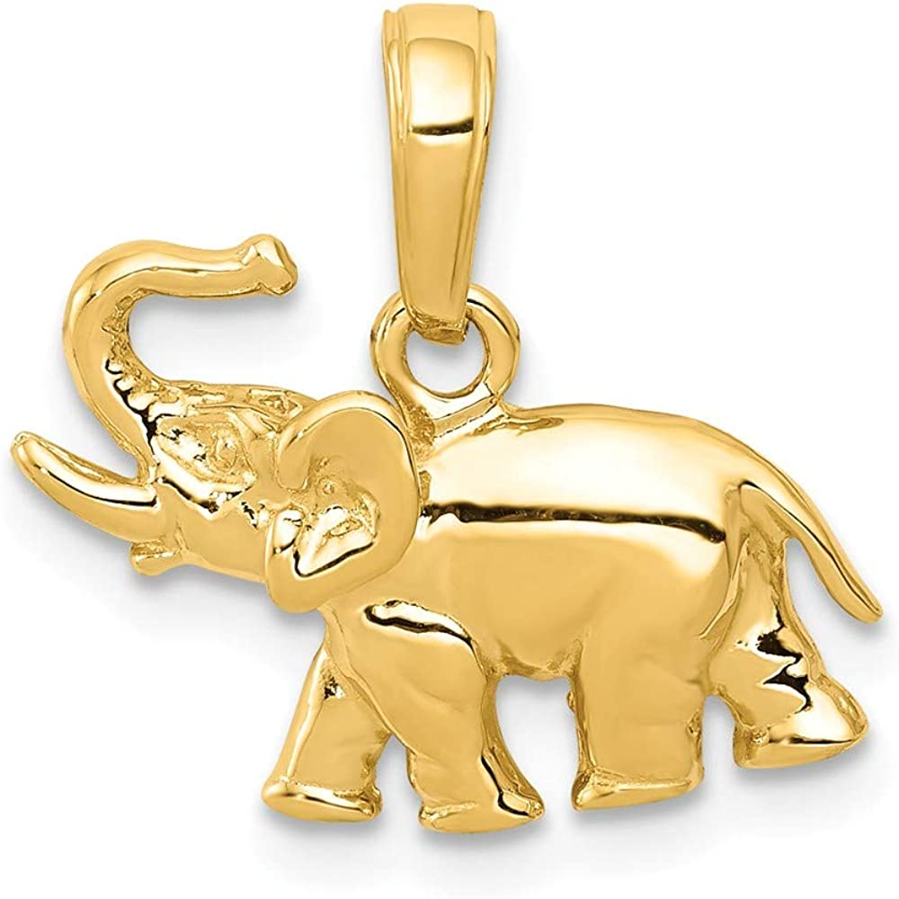 14K Yellow Max 73% OFF Gold Low price Elephant Polished Pendant