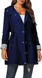 KOOSUFA Chubasquero para mujer, entallado, impermeable, ligero, cortavientos, protección contra la lluvia