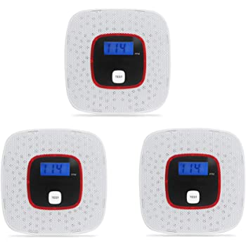 Carbon Monoxide Detector 3 Pack CO Alarm Detector Voice Notification, LCD Digital Display, Battery Operated for House, Bedroom, Living Room, Garage, Hotel, Office (AAA Batteries NOT Included)