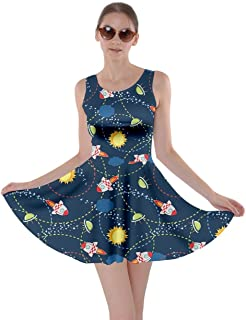 CowCow Womens Rick Morty Meeseeks Destroy Mooncake Final Space Mrs Frizzle Space Skater Dress, XS-5XL