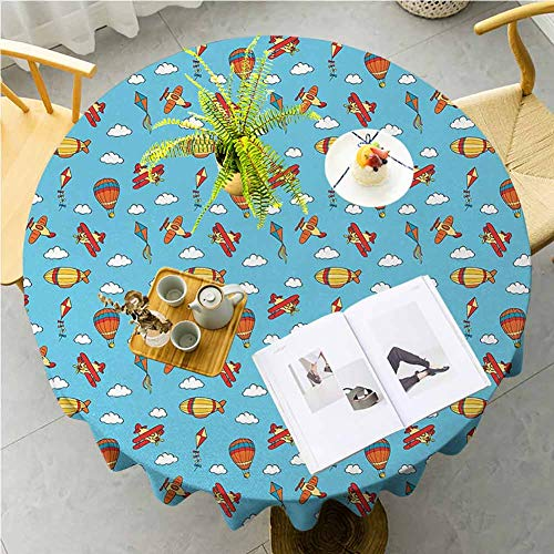 JKTOWN Airplane Home Table Tablecloth for Wedding Reception Restaurant Banquet Party 39 inch Colorful Air Transportation Collection with Balloons Biplanes Zeppelins And Kites Multicolor