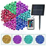 Solar Colorful Outdoor String Lights 16 Color Changing Christmas Lights Remote Control 32.8ft 100 LEDs Solar Powered Multicolor Waterproof Christmas Tree Lights for Patio Yard Party Garden Decor