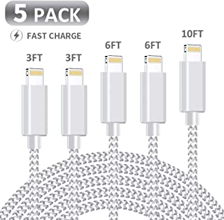 MFi Certified iPhone Charger, KRISLOG  [3/3/6/6/10ft, 5Pack]  Lightning Cable- Lightning iPhone Charger Cable Lead Nylon USB Fast Charging Compatible iPhone 11 Pro XS Max X XR 8 7 6s 6 Plus iPad
