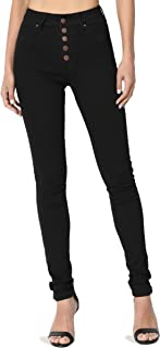 TheMogan Curvy Butt Elastic Waist Band Stretch Soft Denim Skinny Jeans in Black