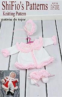 patrón para dos agujas - KP31 - chaqueta matinée, sombrero  y botitas/patucos para bebé