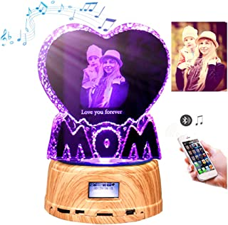 Personalized 3D Crystal with LED Base Bluetooth Music Player Personalize Night Light Custom Engraving Photo (Birthday, Wedding Gift, Memorial, Mother's Day,Valentine's,Christmas) (MOM)