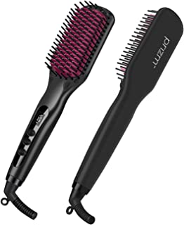 Prizm Enhanced Hair Straightener Brush, 2-in-1 Double Negative Ion Hot Comb for Smooth, Frizz-Free Hair and Shine, Instant Heat up, Dual Voltage, Auto-Off, LED Display, Portable for Home, Travel