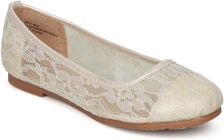 Alrisco Lace Mesh Capped Toe Ballet Flat HF24 - Ivy Mix Media (Size: 4 Big Kid)
