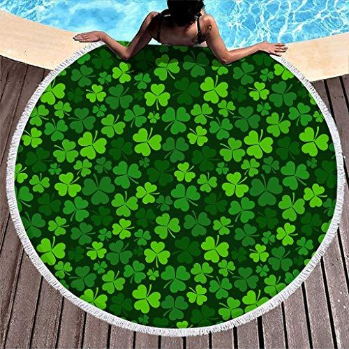 Hothotvery Toallas de playa redondas con borlas de San Patricio, día verde Shamrock impresas, ligeras, para adolescentes, blancas, 150 cm