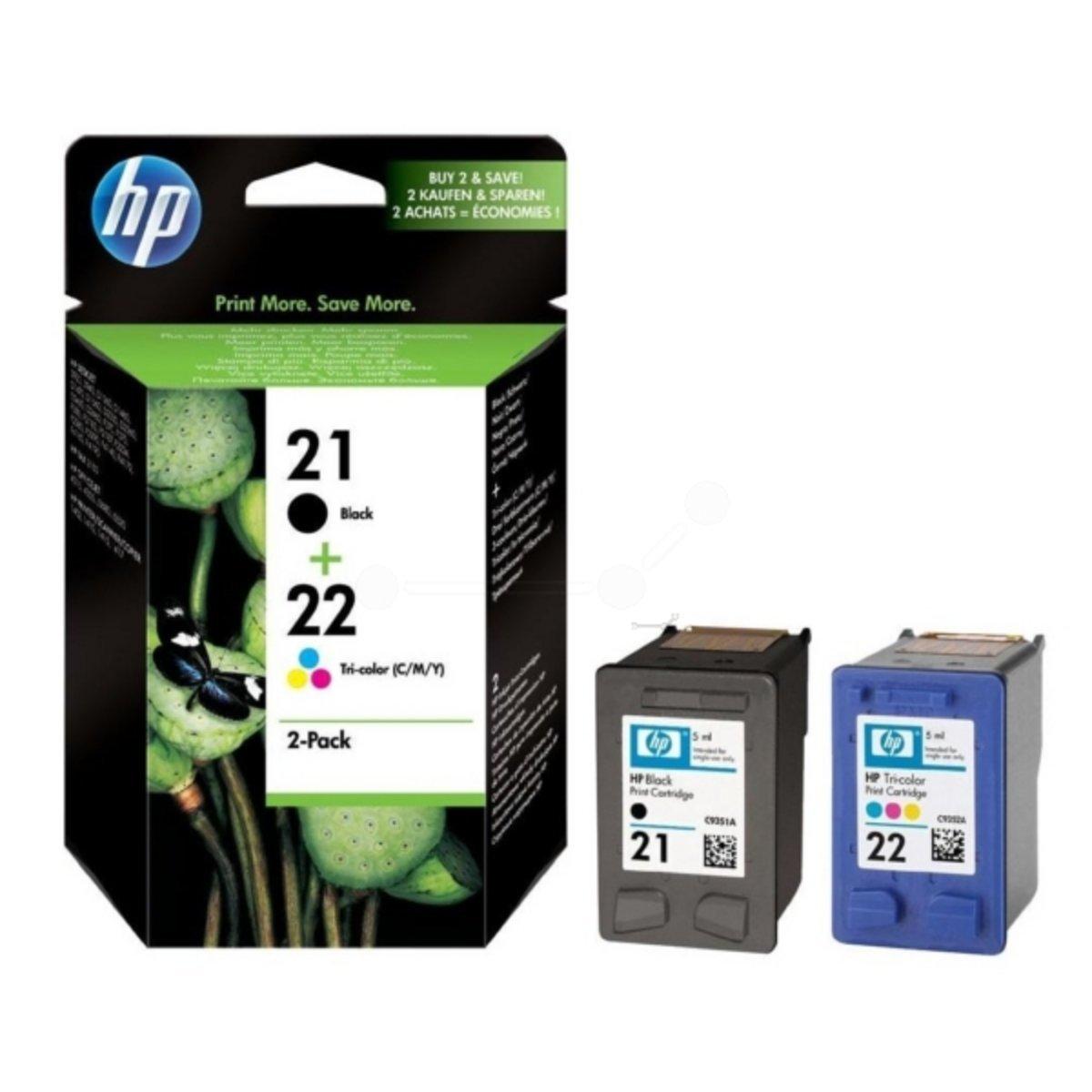 Original de tinta de ahorro-Set HP No, 21 & Nr 22 SD367AE445 - 2 tintas-cartuchos - colour negro, Cian, magenta, amarillo - 360 páginas: Amazon.es: Informática