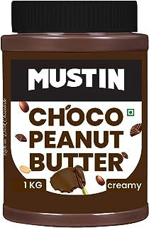 MUSTIN Chocolate Peanut Butter Spread with Richness of Dark Chocolate , Non GMO , Gluten Free ,Vegan , 26% Protein _(1 Kg)