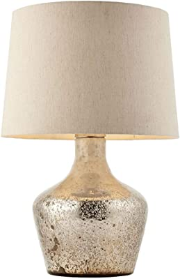 Modern Table Lamp – Hammered Pearl Ombre Glass & White Linen Shade – Feature Bedside Light – Modern Sideboard Bulb Holder – Classic Boutique Twist – Inline Switch – 40W Max LED E27