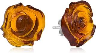 Amber Sterling Silver Carved Flat Rose Stud Earrings