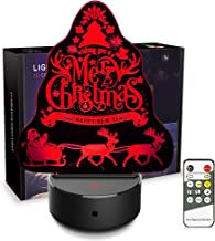 JCMKJ Christmas Tree Desk Christmas 3D Illusion Night Light with Remote Control, LED Night Lamps for Home Room Decoration Birthday Toy Kids (Colorful)