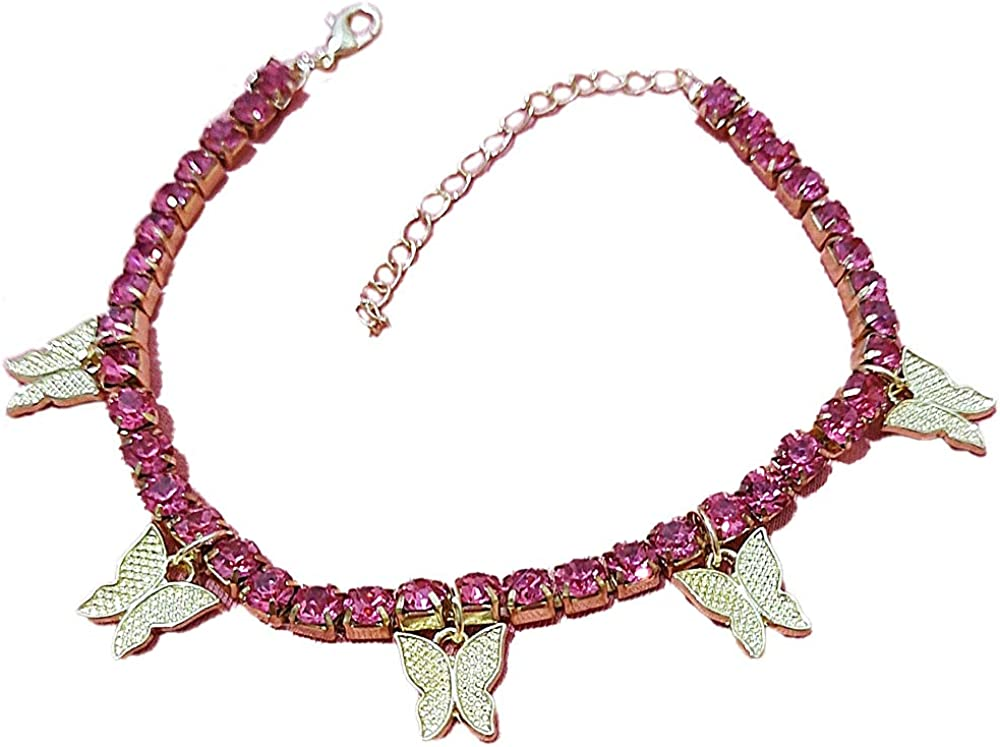 Butterfly Pendant Multi CZ Rhinestone Anklet Foot Barefoot Bling Iced Out Tennis Chain 22cm+5cm for Women Girl Jewelry Hip Hop Punk Gold Silver