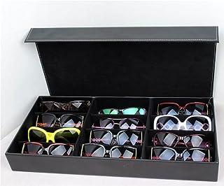 12本 収納 メガネ サングラス コレクション PVCレザー ケース 高級感 バツグン (黒)