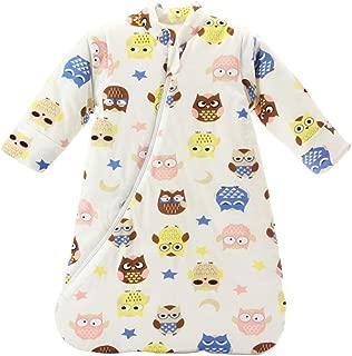 EsTong Unisex Baby Sleep Bag Wearable Blanket Cotton Sleeping Bag Long Sleeve Nest Nightgowns owl/3.5 Tog L/2-4 Years