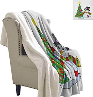 sunsunshine Snowman Sherpa Throw Blanket Lovely Character Near a Christmas Tree Festive Celebration Holiday Winter Time Lightweight Fluffy Flannel and Sherpa Blanket 60x47 Inch Multicolor