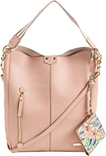 Spring Florals Fashion Tote Bag with Printed Pouch - Pink