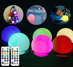 LIGHT PRO LED Waterproof Orbs, Remote Control Pool Garden Decoration,(Battery Operated 6PACK) 3.1inch Color Changing Bath Toy,Indoor Outdoor Pond Floating Balls