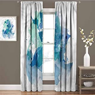 GUUVOR Aqua Heat Insulation Curtain Abstract Watercolor Splashes for Living Room or Bedroom W72 x L96 Inch