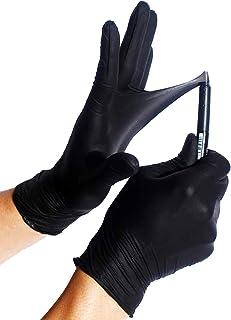 100x Guantes De Nitrilo - Tarea Pesada Guantes Desechables Sin Látex y Polvo AQL 1.5 Trabajo Pesado Mecánico Químico Industria Lavado Conserje Limpieza (Negro, M (7-8))