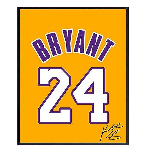 Kobe Bryant Jersey Photo, Wall Art Decor - 8x10 Poster LA Lakers #24 Decoration - Unique Gift for Basketball, Sports Fan, Men, Boys, Teens - ...
