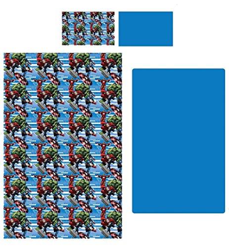 completo letto singolo AVENGERS marvel lenzuola sopra sotto e federa 100% cotone art. 62033 col. blu
