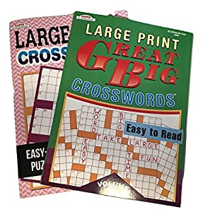 Large Print Crosswords Puzzle Book Bundle of 2 Different Books Easy to Read